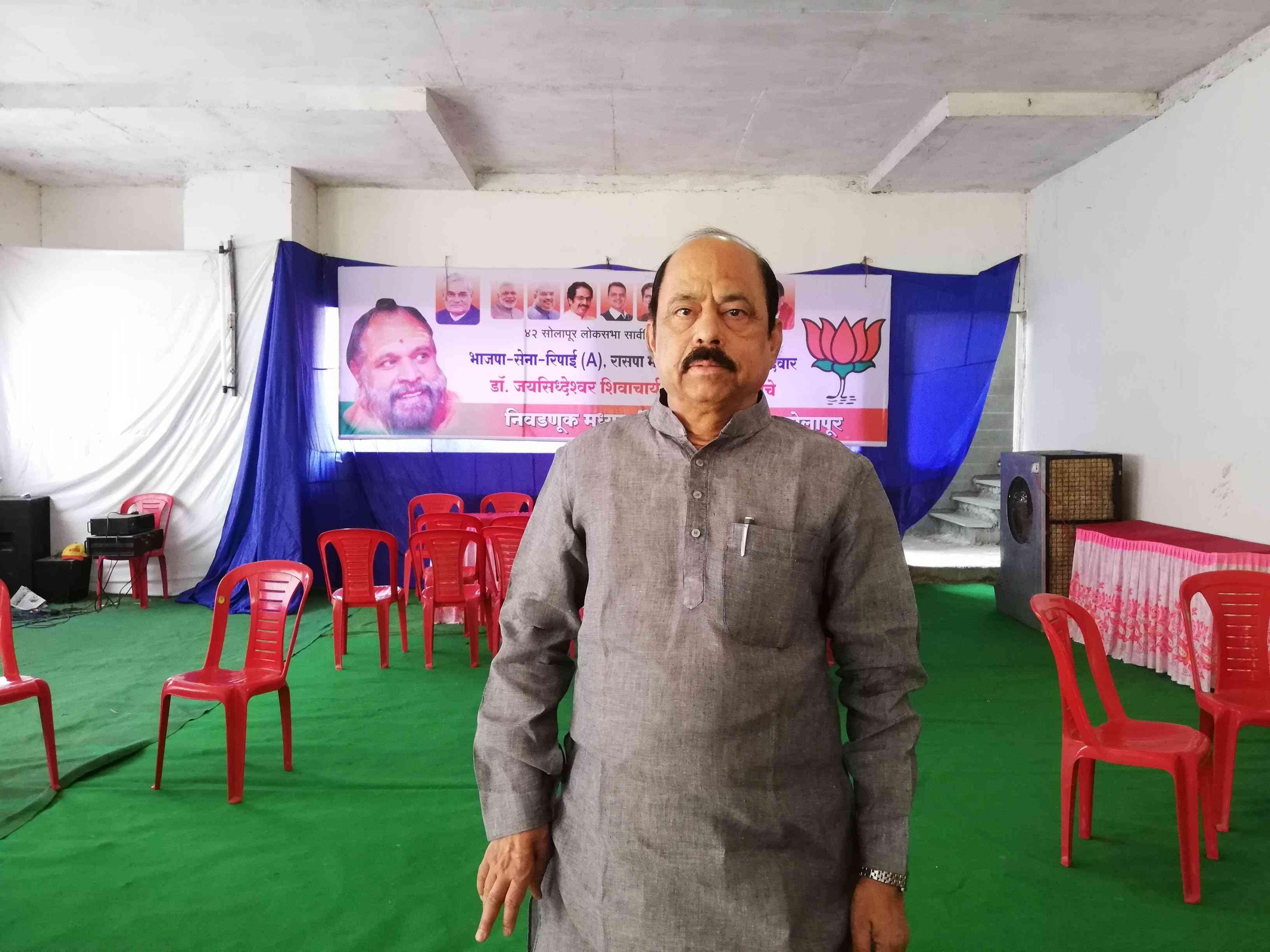 Kishor Deshpande at a BJP office in Solapur. Photo credit: Mridula Chari