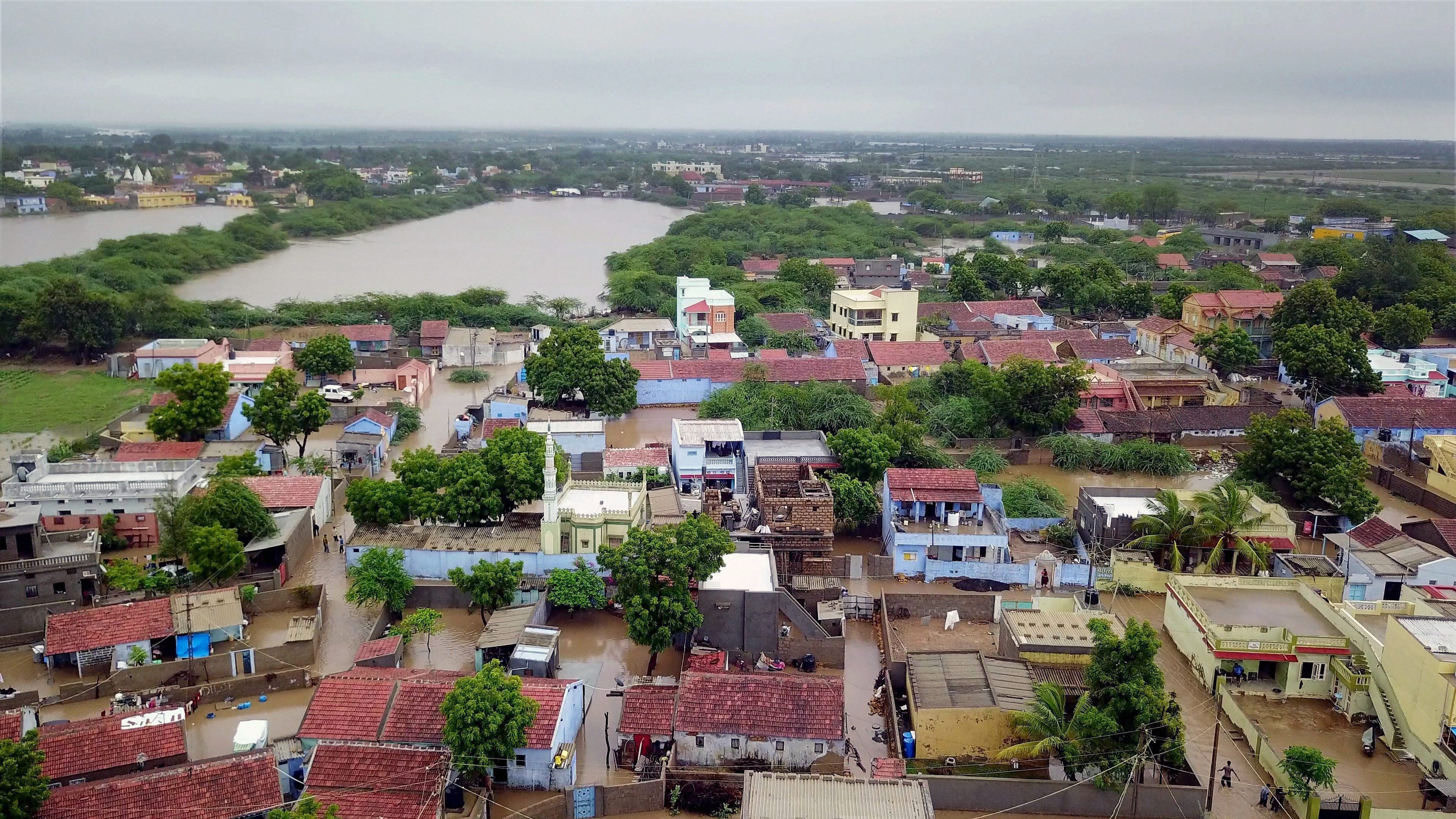 The Abadasa taluk in Gujarat's Kutch district is flooded after heavy rain. (Credit: PTI)