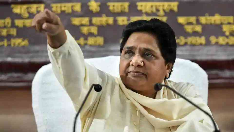 """Mayawati held a press conference on September 16 where she snubbed Chandrashekhar Azad for calling her his bua. She said she had no relation with """"such kinds of people"""". (Photo credit: PTI)."""