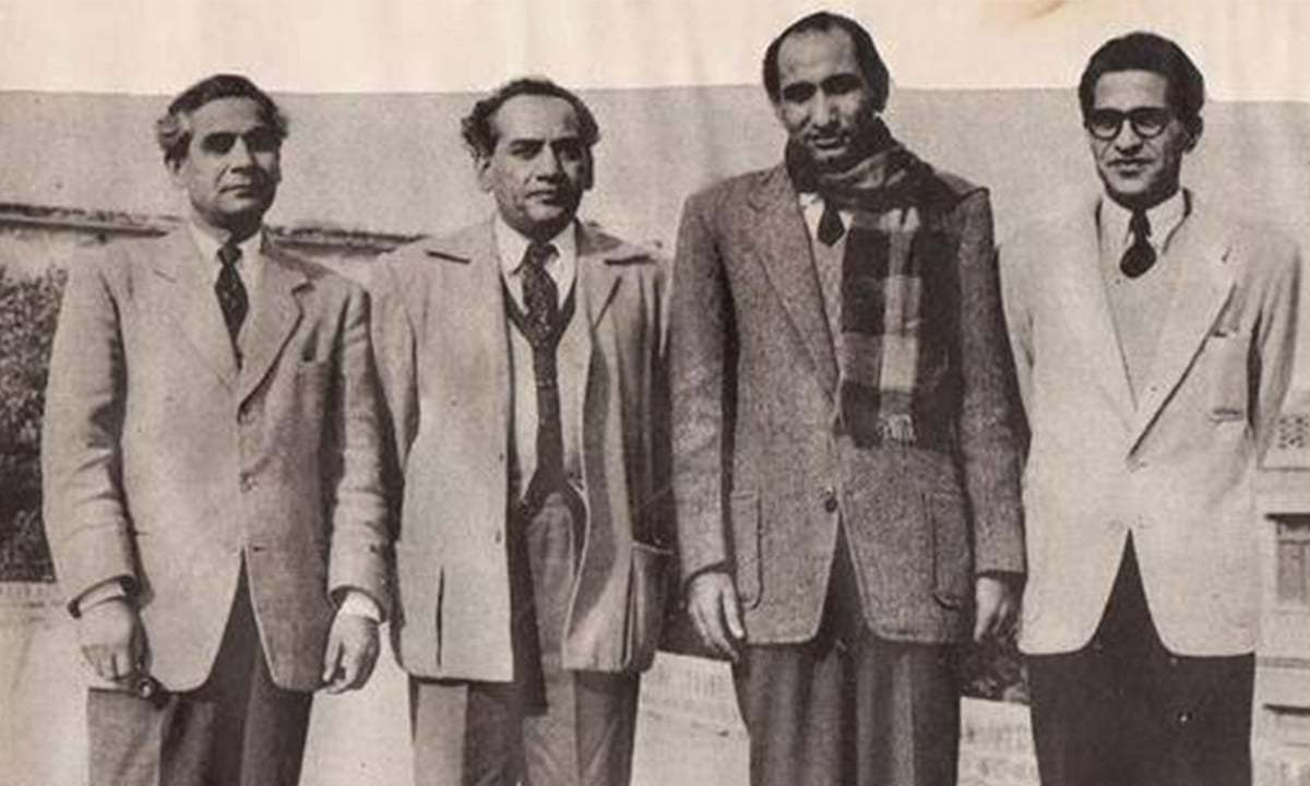 Faiz Ahmed Faiz (second from left) and other progressive writers.