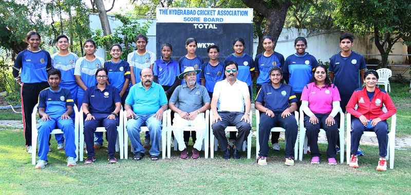 G Trisha, first from left, in the seated row. Image Credit: Hyderabad Cricket Association