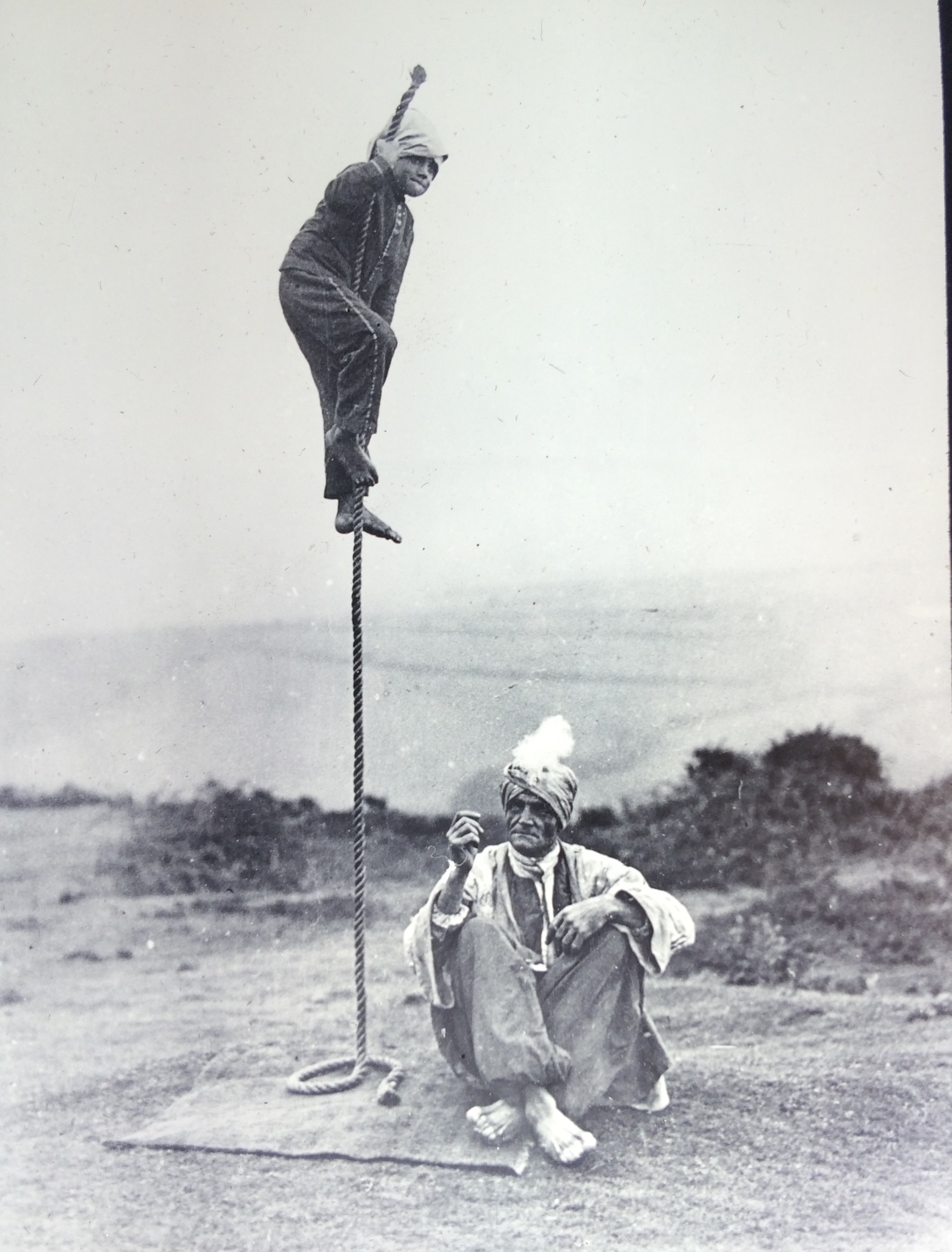 'Karachi'(Arthur Claude Derby) performs the Indian Rope Trick at West Hampstead in 1934: Harrry Price Collection, University of London. Courtesy Panmacmillan India