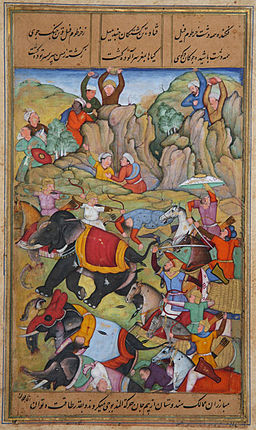 The Defeat by Timur of the Sultan of Delhi, Nasir Al-Din Mahmum Tughluq, in the winter of 1397-1398; The Minneapolis Institute of Arts, 2014.101/via Wikimedia Commons