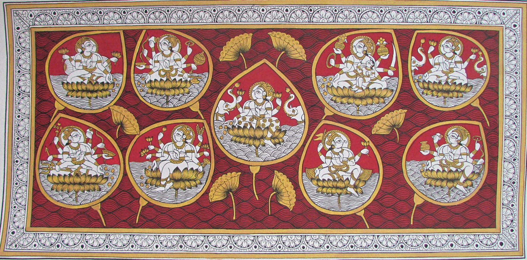 A phad painting depicting Lakshmi.