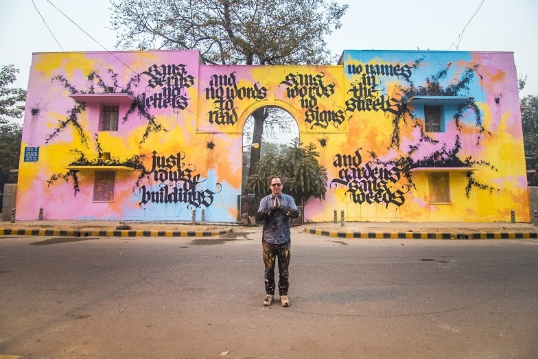 Art by Niels Shoe Meulman, Block 11, Lodhi Colony. (Photograph: Akshat Nauriyal).