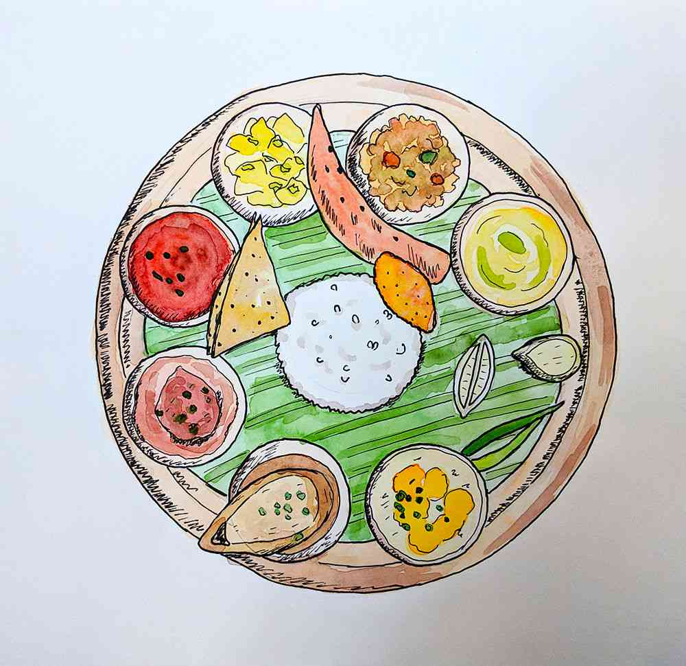 A Bengali thali. Illustration by Nithya Subramanian.