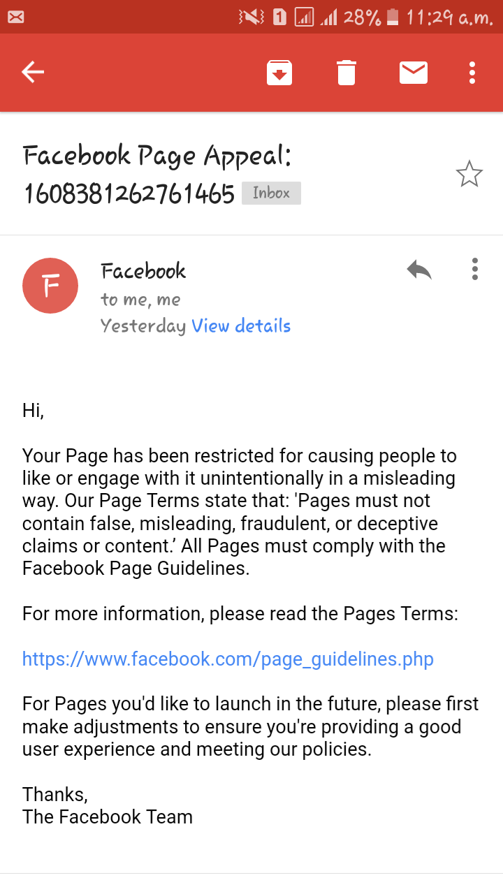 Facebook's response to the restrictions imposed on Vartha Bharati.