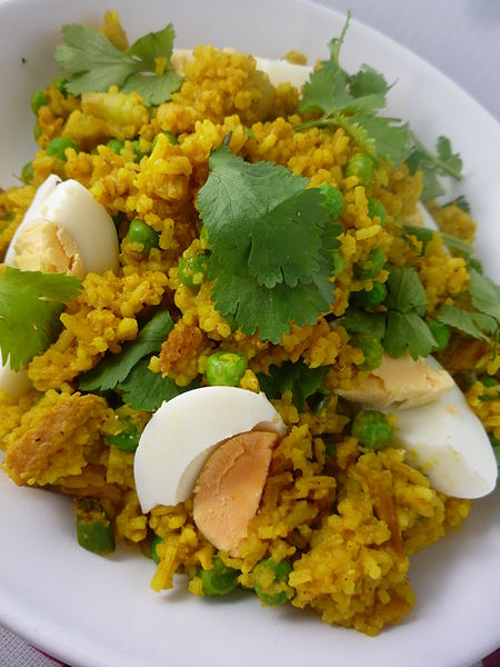 Khichdi with eggs. Credit: Wikimedia Commons
