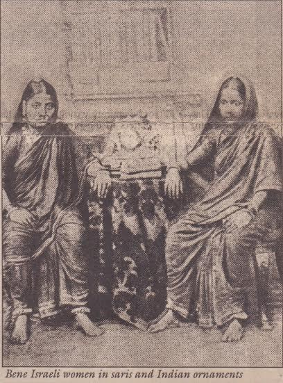 Bene Israeli women in sarees and Indian ornaments.