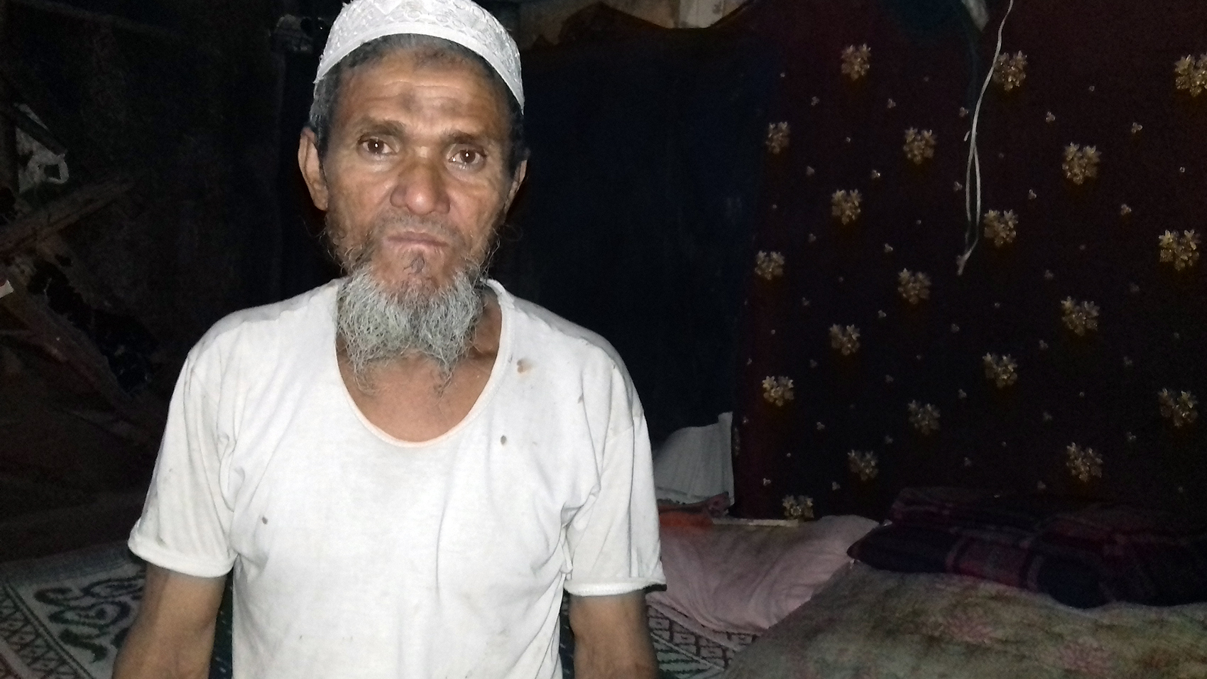 Nizamuddin at his house at the Rohingya camp in Delhi. (Credit: Abhishek Dey)