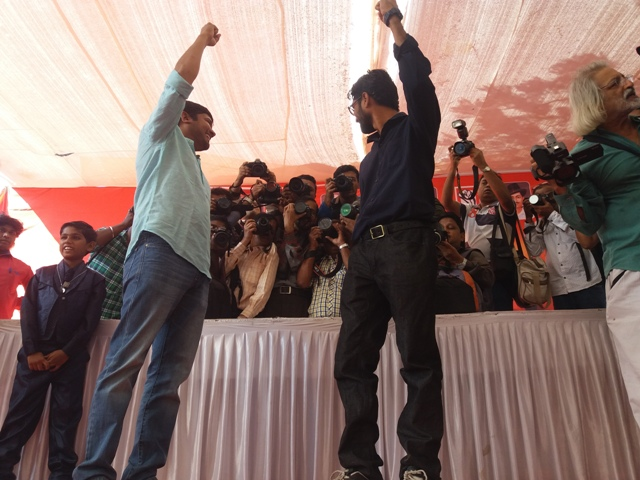 Kanhaiya Kumar and Jignesh Mevani were media magnets at the rally.