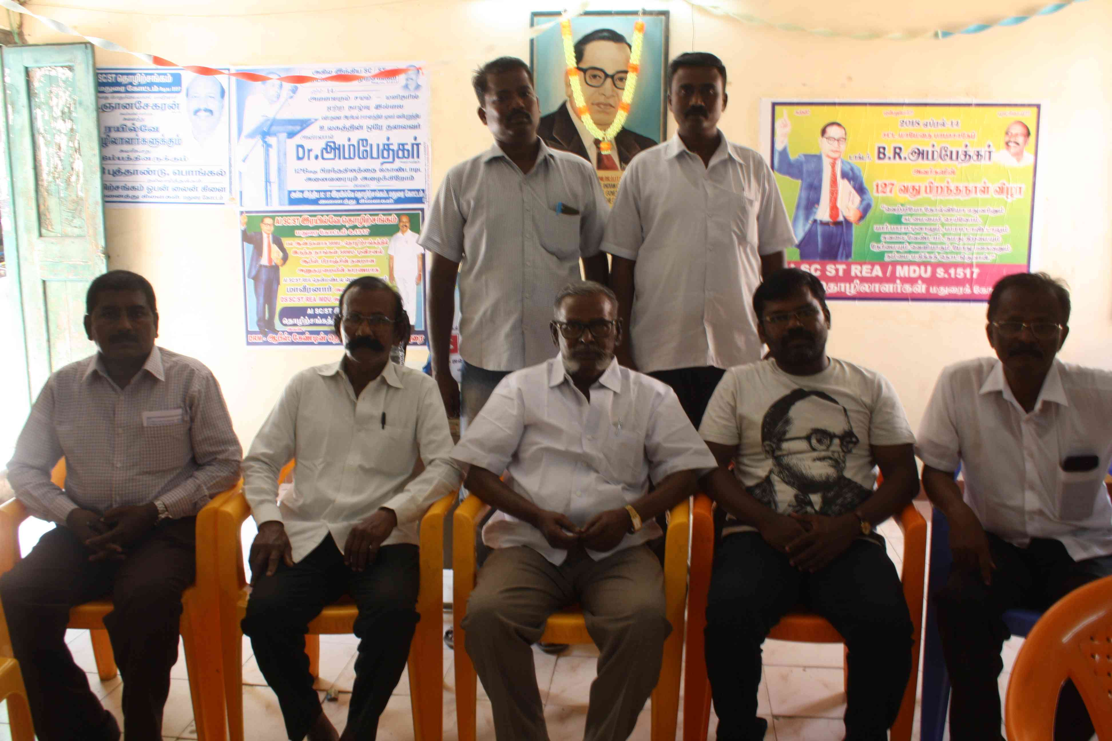 Members of the Devendrakula Community Protection Federation at a meeting in Madurai, Tamil Nadu, on March 23.