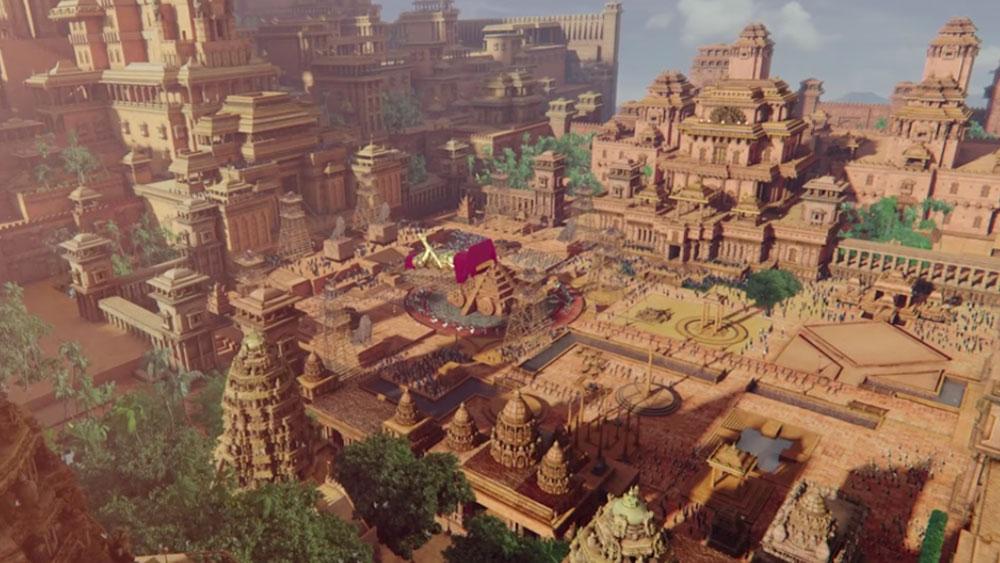 The grand city of Bahubali's Mahishmati. Image via YouTube.