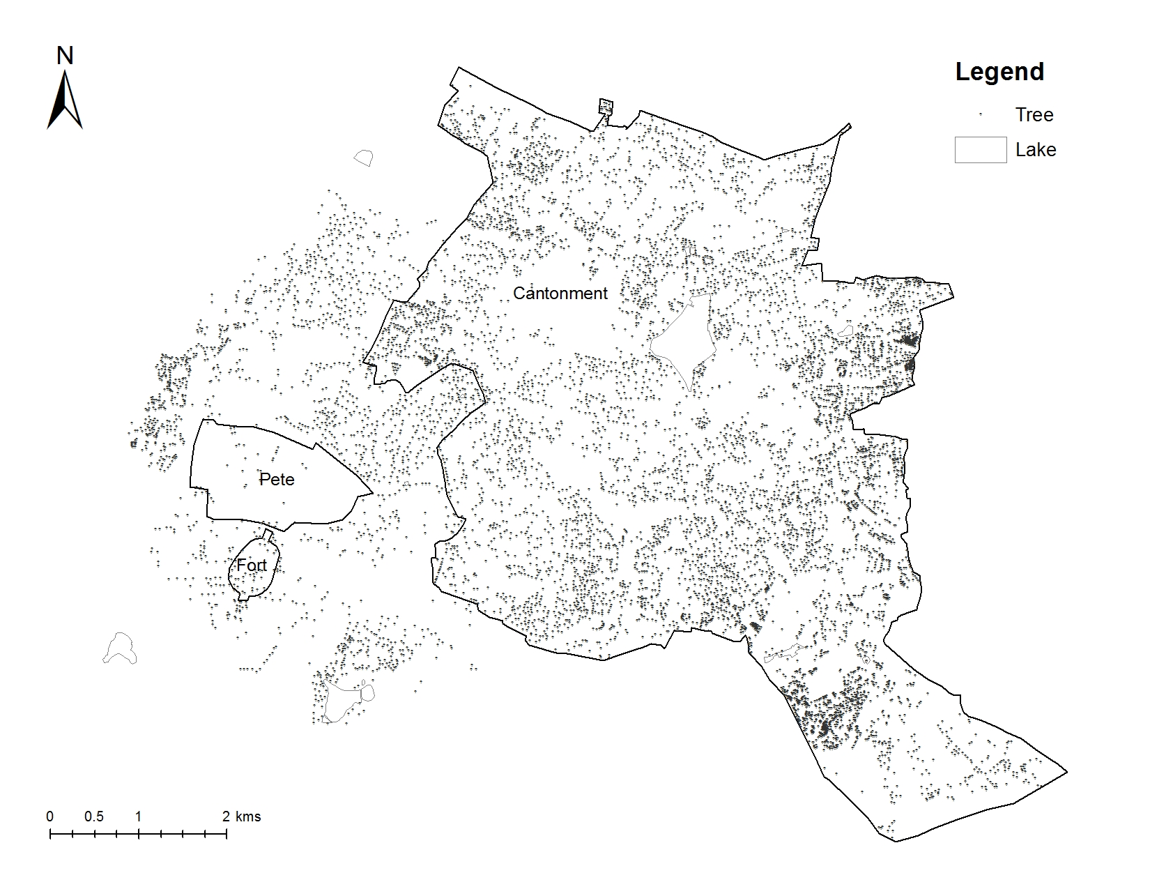 Distribution of trees and lakes in Bengaluru in 2015