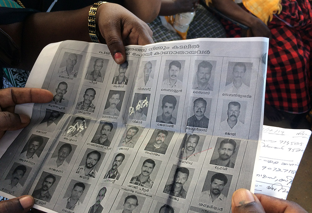 The list of missing fishermen from Vizhinjam since November 29. Photo credit: TA Ameerudheen