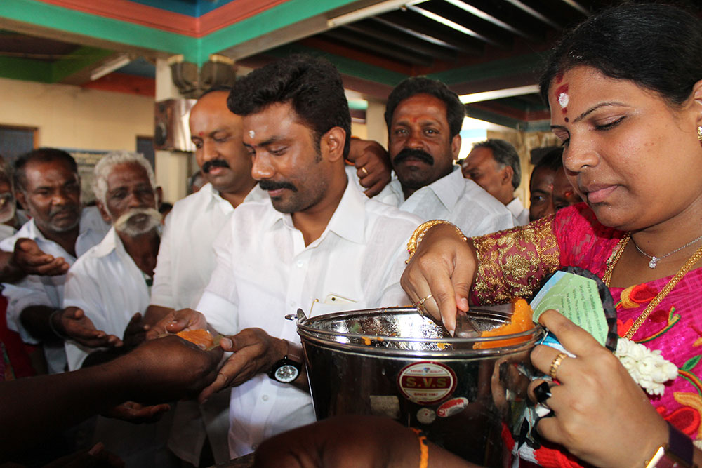 O Panneerselvam's son OP Ravindran presiding over a temple function in Bodinayakanur, Theni district, on the occasion of special prayers for Jayalalithaa's birthday on February 24, 2016. Credit: Sandhya Ravishankar
