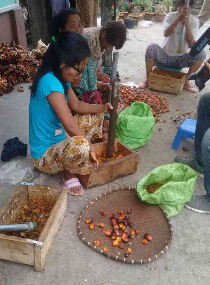 Indigenous women of Mizoram pound fresh oil palm fruitlets.
