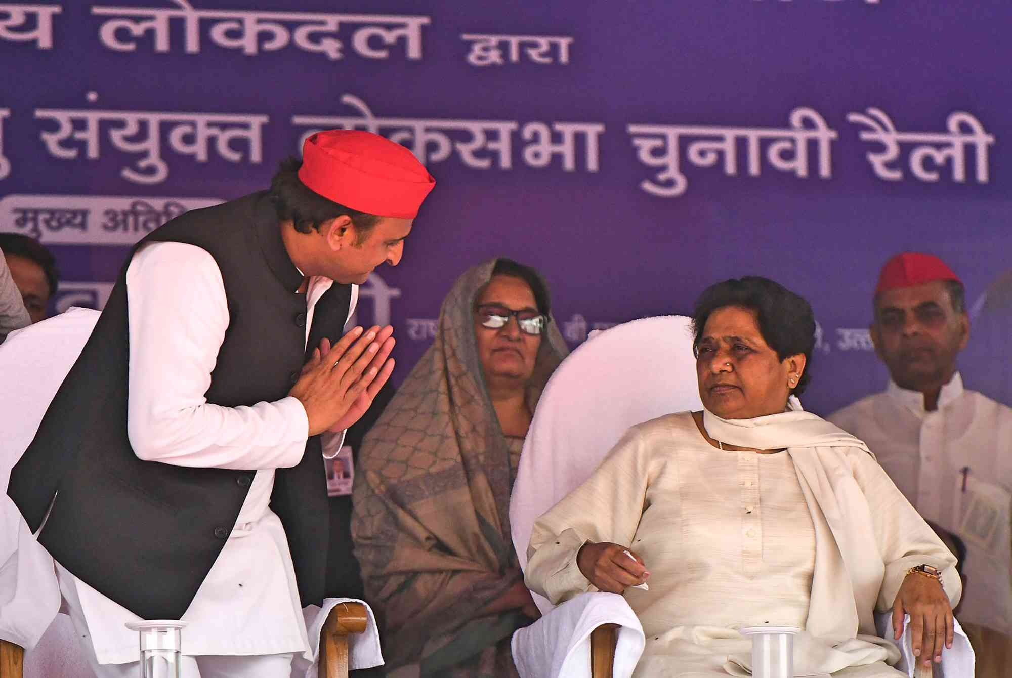 Samajwadi Party President Akhilesh Yadav With Bahujan Samaj Party President Mayawati In Deoband, Uttar Pradesh, On April 7, 2019. (Photo credit: Sanjay Kanojia/AFP).