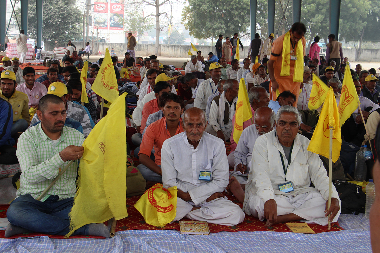 Farmers with yellow Rashtriya Kisan Mazdoor Sangh flags seated at the grain warehouse of Faridabad's Naya Mandi. Photo: Aabid Shafi