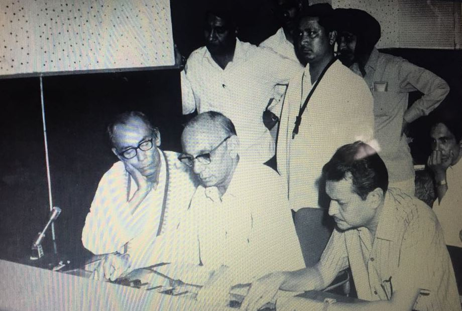 Neeraj (far right) at a recording with SD Burman (far left). Courtesy Milan Prabhat Gunjan.