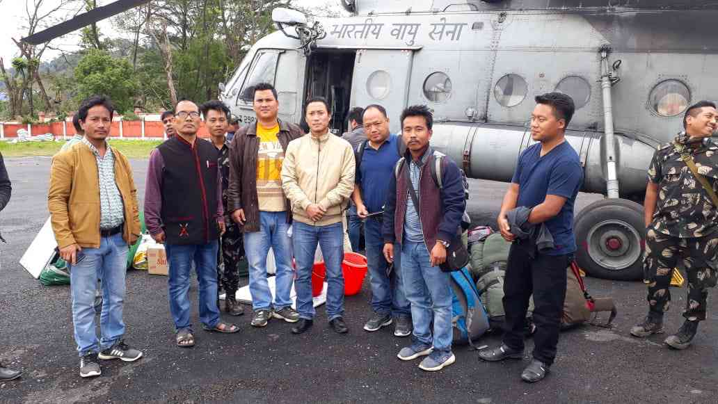 The first polling teams that were flown from Miao sub-division to Vijonagar.