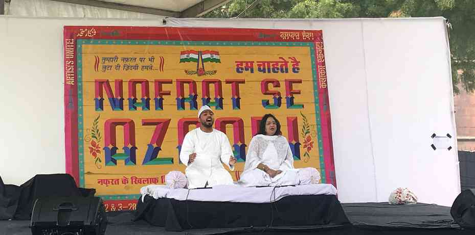 Firoz Khan and Fouzia Dastango perform in Delhi. Photo credit: Vijayta Lalwani