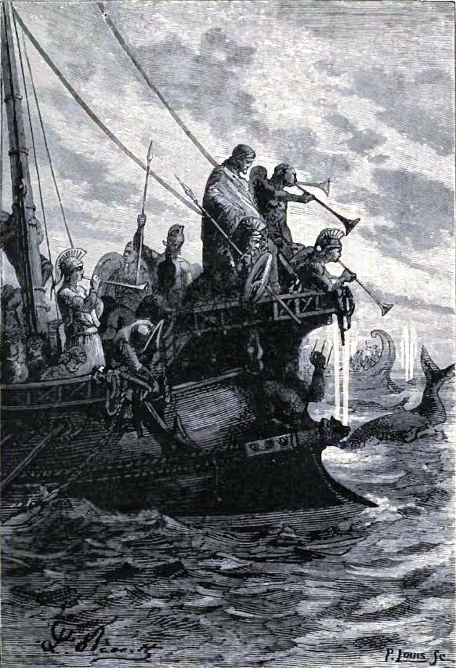 A 19th-century sketch of Greek commander, Nearchus, leading his fleet across River Indus in the present-day Sindh province of Pakistan. Source:The Voyage of Nearchus from the Indus to the Euphrates: William Vincent (Nabu Press, 2011).  Karachi in the Mirror of History: M Usman Damohi (Al-Abbas Publications, 2011).