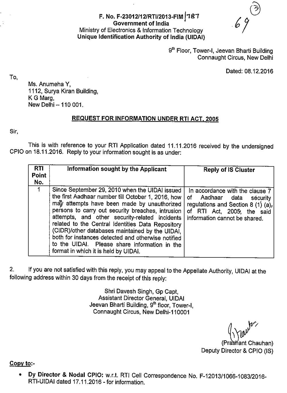 The Unique Identification Authority of India denied sharing information on data breaches under an RTI query filed by Scroll.in.