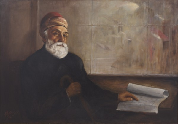 Portrait of JN Tata (Oil on canvas, dated August 12, 1980).