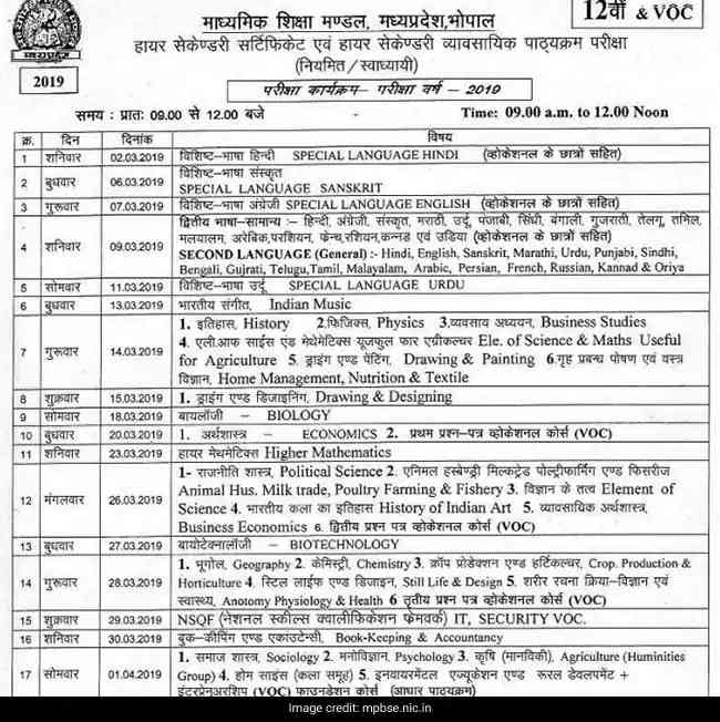 MP Board 2019 10th and 12th exam schedule released