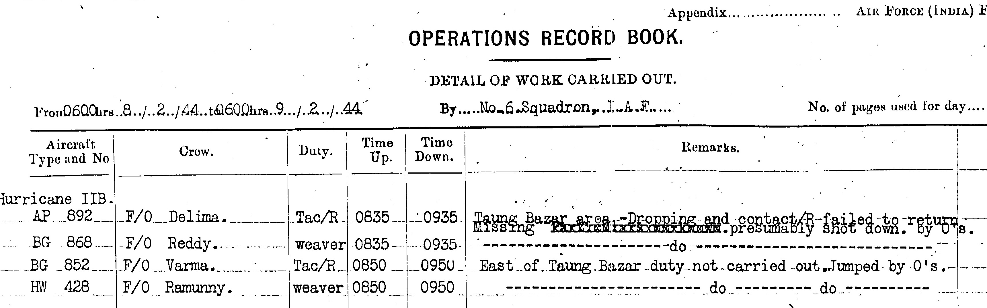 The squadron's Operations Record Book. Image courtesy: Jagan Pillarisetti.