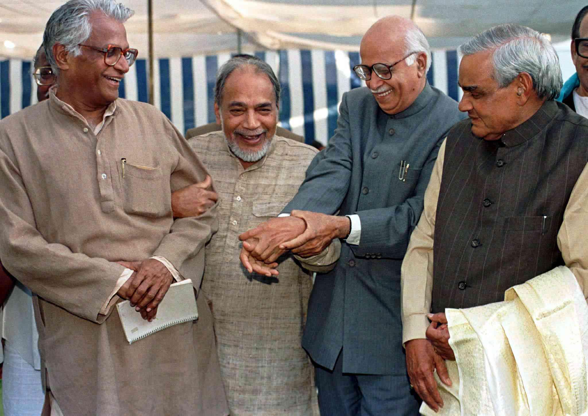 George Fernandes with Ramakrishna Hegde, LK Advani and Atal Bihari Vajpayee. Photo credit: Reuters
