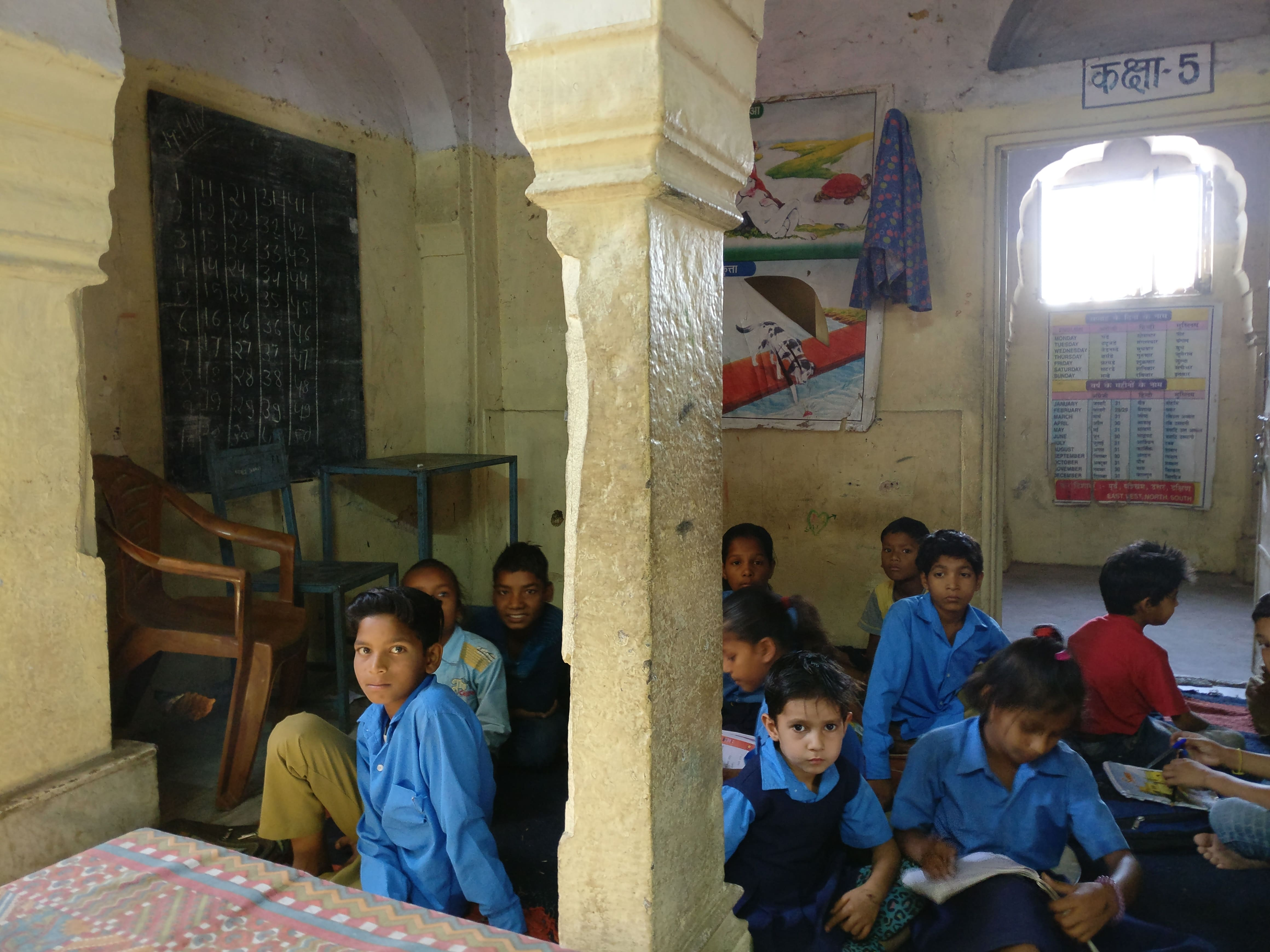 The primary wing of the merged Durgapura school occupies the gateway of a heritage structure.