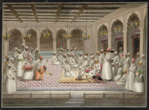 Asafuddaula is entertained by musicians at court. Lucknow, c.1812. (BL Add.Or.2600)