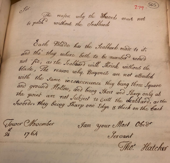Letter 279 from Thomas Hatcher to Robert James 24 Nov 1764. Photo credit: IOR/E/1/45, f 565