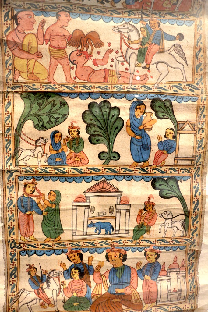 A scroll depicting Manohar Fanshira in 18 panels. 19th century. Midnapore. Photo credit: Shrutakirti Dutta