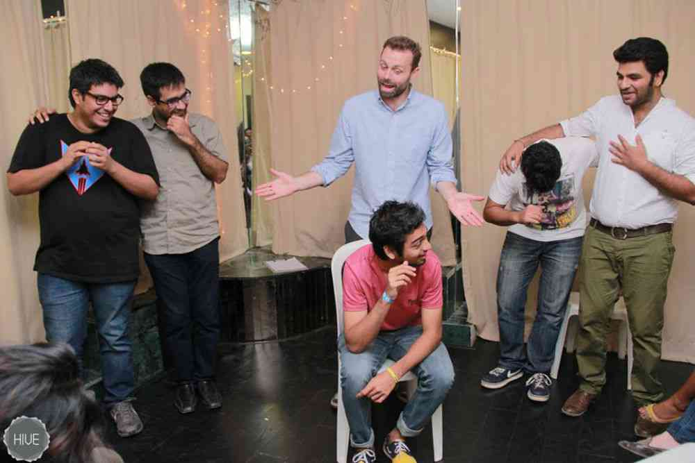 Adam Dow with a group of improv artists at The Hive, Mumbai.
