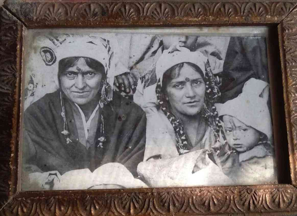 Left: Author's great-great-grandmother (Year 1890s?; Kashmir)