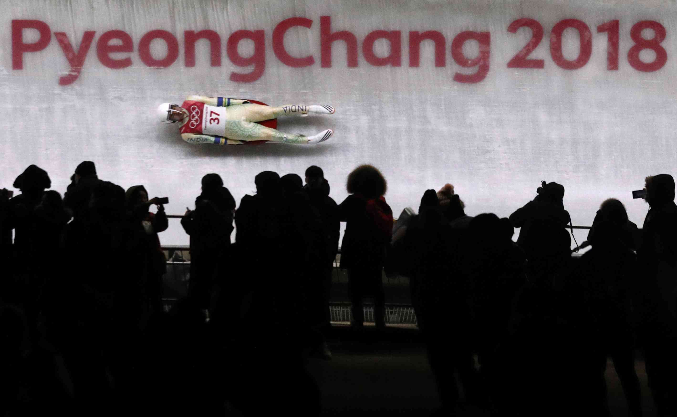 Shiva Keshavan of India slides down the luge track at his sixth and final Winter Olympics in Pyeongchang, South Korea (Reuters)