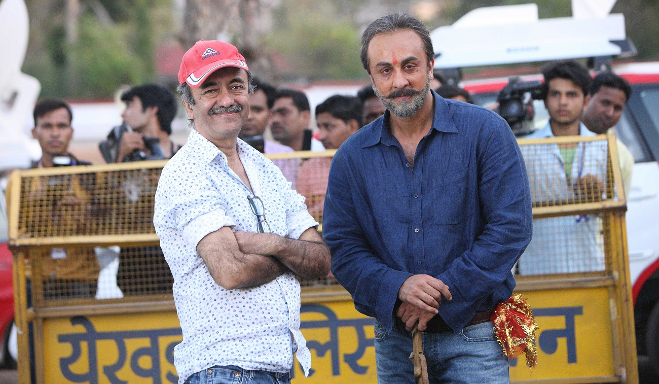 "Director Raju Hirani and actor Ranbir Kapoor who plays Sanjay Dutt, on the sets of 'Sanju"". Credit: Rajkumar Hirani Films/Vinod Chopra Films"