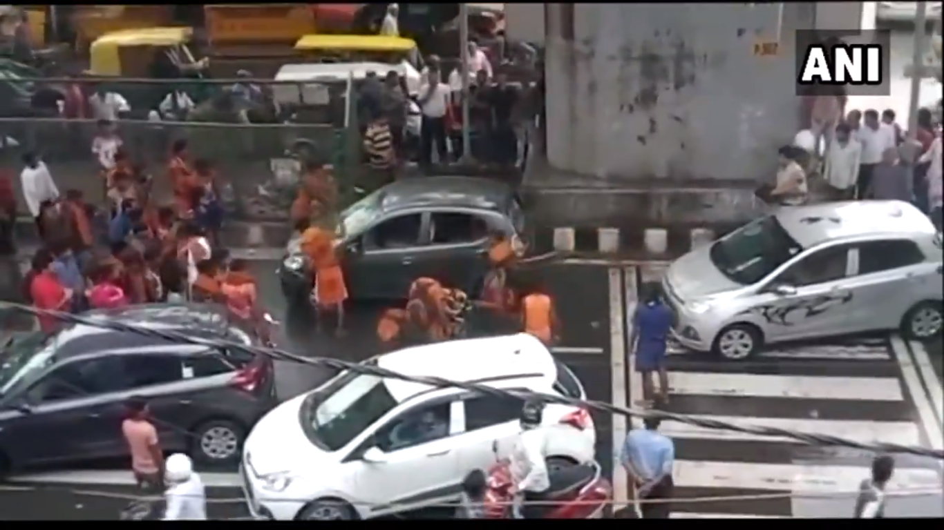 A screenshot of the altercation in Delhi's Moti Nagar on Wednesday.