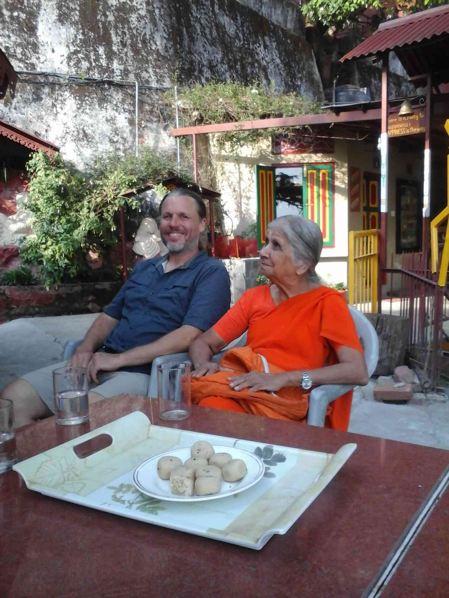 Armstrong with Mataji at Soham Heritage and Art Center | Image credit: Chitralekha Shalom.