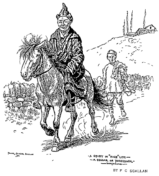 """A Study in 'High Life'- A Beggar on Horseback"" by Frank Clinger Scallan. Source: Indian Ink (1914)"