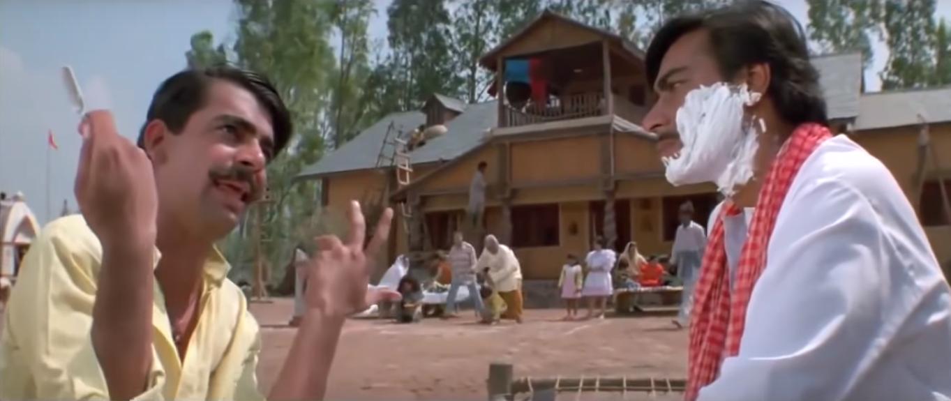 Sunil Grover and Ajay Devgn in Pyaar Toh Hona Hi Tha (1998). Courtesy Baba Films.