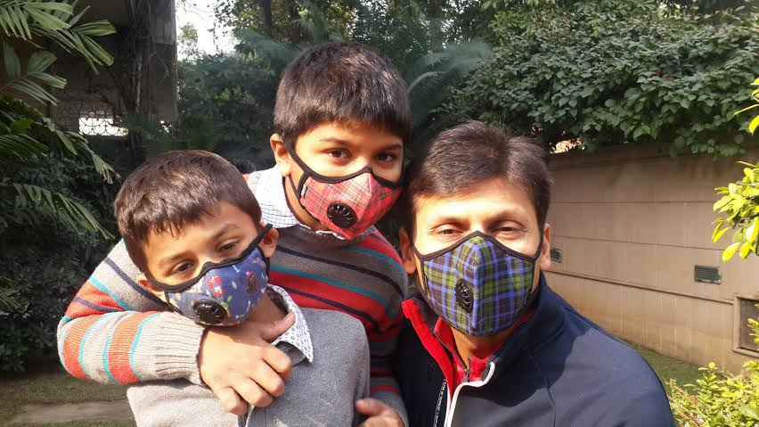 Vogmask India CEO Jai Dhar Gupta (right) with his sons.