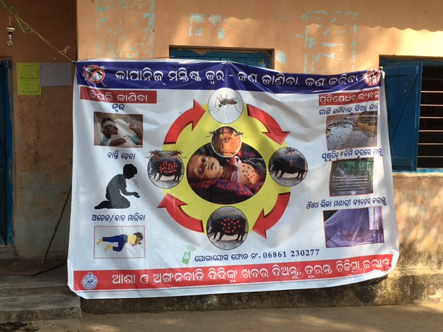 A poster outside a school in Malkangiri explaining Japanese encephalitis transmission. Photo: Priyanka Vora.
