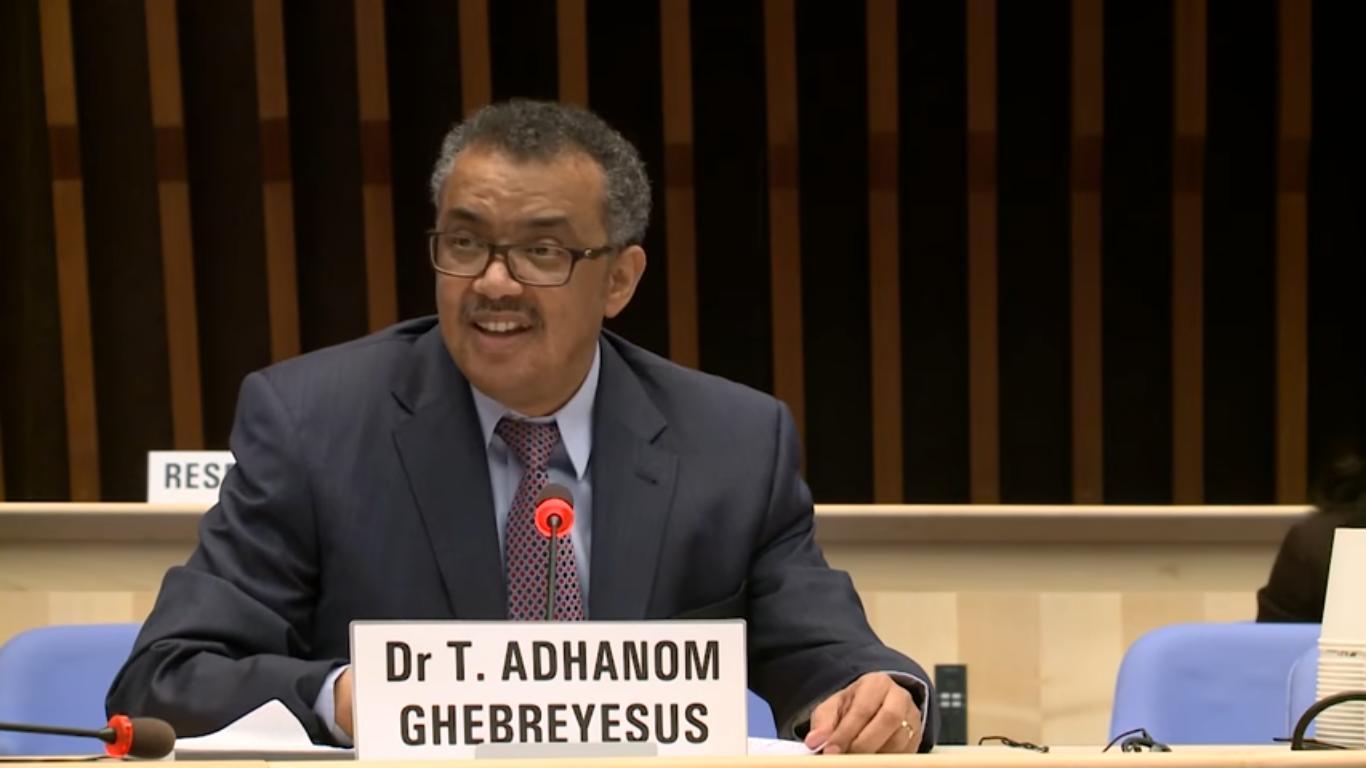 Dr Tedros Adhanom Ghebreyesus at the Director-General candidates forum. [Credit: WHO/via YouTube]