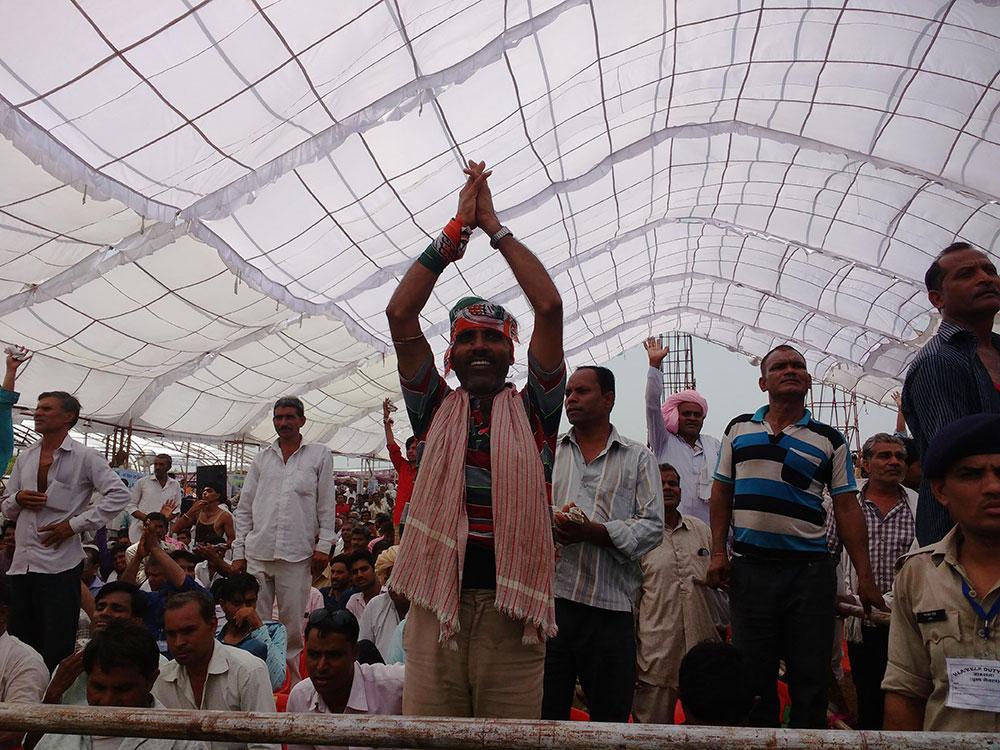 An enthusiastic Congress supporter cheers at Gandhi's rally. Photo: Mridula Chari