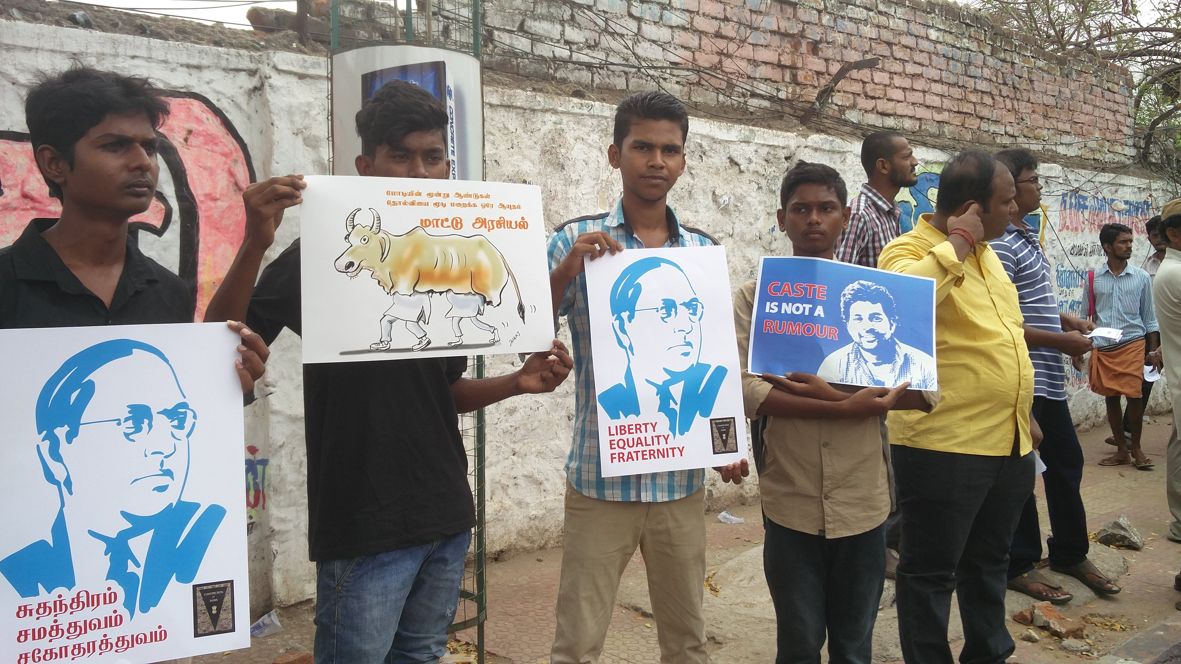 Chennai citizens hold up posters condemning the lynchings and targeted violence. [Credit: Vinita Govindarajan]