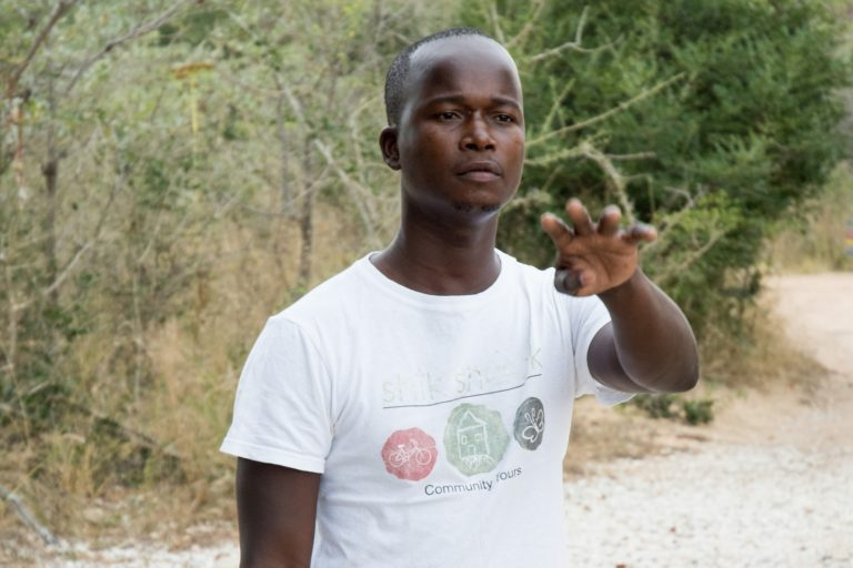 Prince Nkuna is an environmental monitor and mentor of young children with Nourish. He is studying to be a tour guide. Photo credit: Justin Catanoso for Mongabay